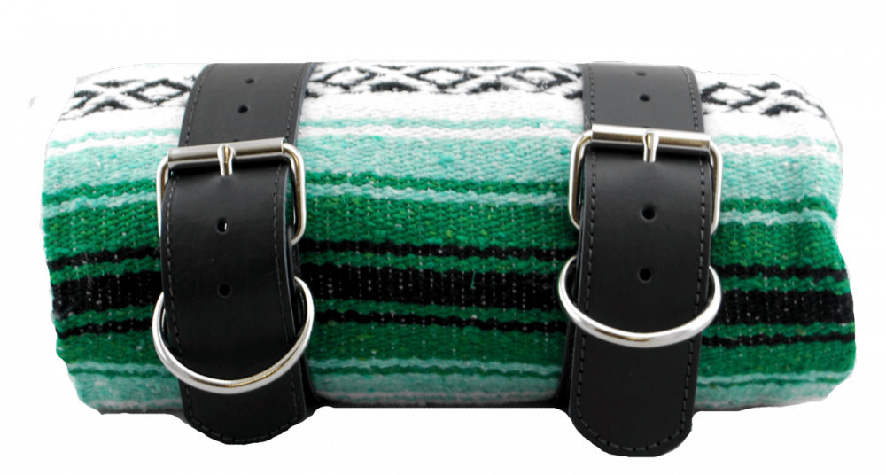 Mexican Serape Roll-up Blanket Green with Black Leather Belts